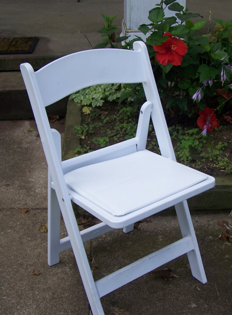White Padded Resin Chairs Rental, OH